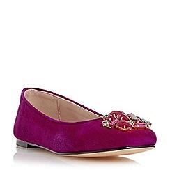Dune - Red jewelled trim square toe flat shoe
