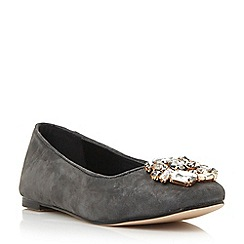 Dune - Grey jewelled trim square toe flat shoe