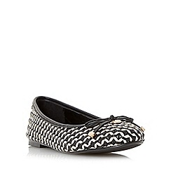 Dune - Black 'Hobbi' woven leather ballerina shoe