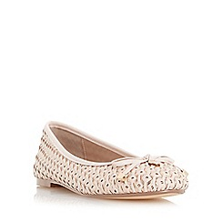 Dune - Natural 'Hobbi' woven leather ballerina shoe