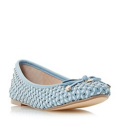 Dune - Blue 'Hobbi' woven leather ballerina shoe