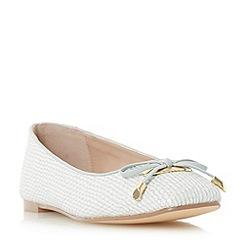 Dune - Grey 'Heanda' square toe bow trim ballerina