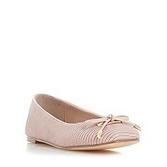 Dune - Pale pink 'Heanda' square toe bow trim ballerina shoe