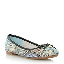 Dune - Blue bow trim round toe ballerina