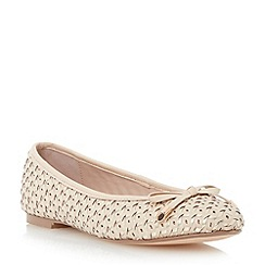 Dune - Metallic woven leather ballerina shoe