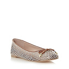 Dune - Neutral square toe bow trim ballerina