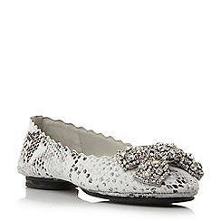 Dune - Neutral diamante bow trim ballerina