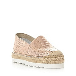 Dune - Rose Gold 'Guide' white sole flatform espadrille shoe