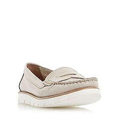 Dune - Light grey 'Garden' white cleated sole penny loafer