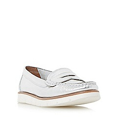 Dune - Silver 'Garden' white cleated sole penny loafer shoe