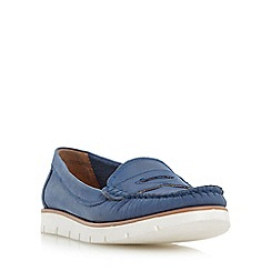 Dune - Blue 'Garden' white cleated sole penny loafer