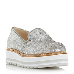 Dune - Silver 'Grayze' slipper cut flatform shoe