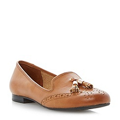 Dune - Tan brogue tassel leather loafer