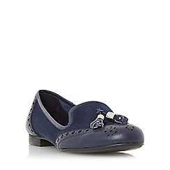 Dune - Navy 'Loki' brogue tassel detail loafer