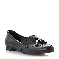 Dune - Black brogue tassel leather loafer
