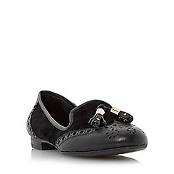 Dune - Black 'Loki' brogue tassel detail loafer