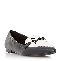 Dune - Black-leather 'Georgette' bow detail pointed loafer