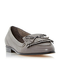 Dune - Grey-leather 'Guinevere' leather bow detail tassel loafer