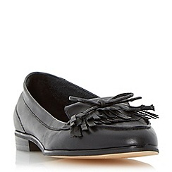 Dune - Black-leather 'Guinevere' leather bow detail tassel loafer