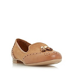 Dune - Tan 'W loki' wide fit brogue tassel detail loafer shoe