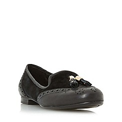 Dune - Black 'W loki' wide fit brogue tassel detail loafer shoe