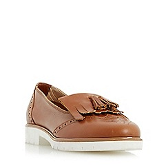 Dune - Tan 'Goat' fringe and tassel detail loafer