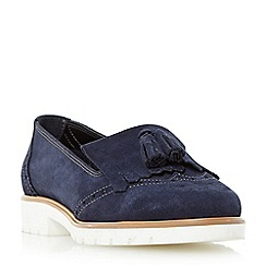 Dune - Navy 'Goat' fringe and tassel detail loafer