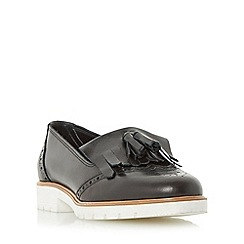 Dune - Black 'Goat' fringe and tassel detail loafer