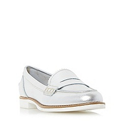 Dune - Silver 'Gleam' white sole penny loafer