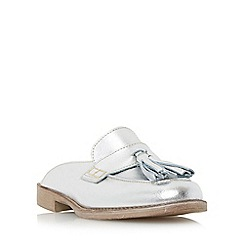 Dune - Silver 'Gee' backless flat loafer