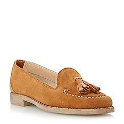Dune - Brown suede tassel loafer