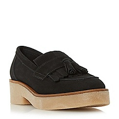 Dune - Black 'Gypsie' tassel and fringe detail crepe sole loafer shoe
