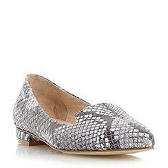 Dune - Neutral leather reptile print pointed toe loafer