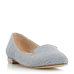 Dune - Grey leather reptile print pointed toe loafer