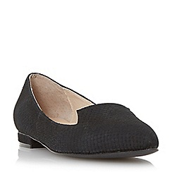 Dune - Black 'Gracee' leather reptile print pointed toe loafer