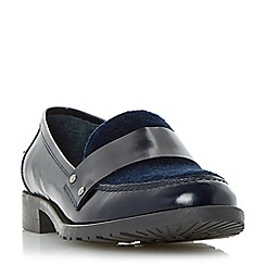 Dune - Navy 'Granada' contrast vamp leather loafer