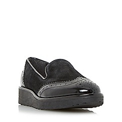 Dune - Black 'Garner' flatform slipper cut loafer shoe