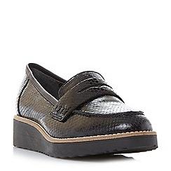 Dune - Black 'Graphic' flatform  penny loafer shoe