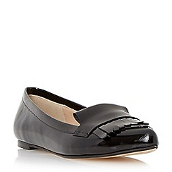 Dune - Black 'Gersey' slipper cut fringe detail loafer