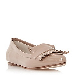 Dune - Camel 'Gersey' slipper cut fringe detail loafer
