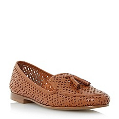 Dune - Brown laser cut leather tasselled loafer shoe