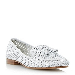 Dune - Neutral laser cut leather tasselled loafer shoe