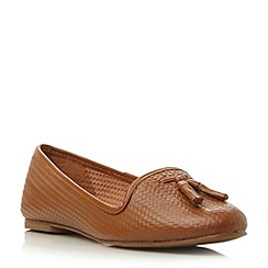 Dune - Brown leather woven effect loafer