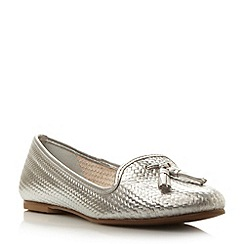 Dune - Metallic leather woven effect loafer