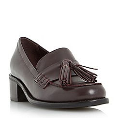 Dune - Tan 'Gloria' mid heel block loafer