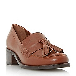 Dune - Dark red 'Gloria' mid heel block loafer