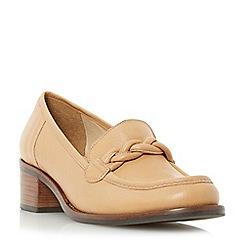 Dune - Tan 'Grateful' plaited saddle block heel loafer