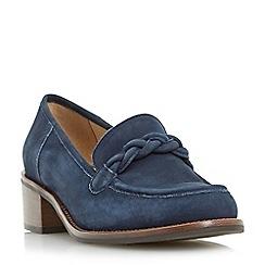 Dune - Navy 'Grateful' plaited saddle block heel loafer