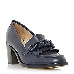 Dune - Navy 'Galaga' fringe and curb chain detail loafer