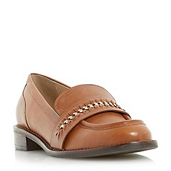 Dune - Dark tan 'Gerard' stitch detail curb chain saddle loafer shoe